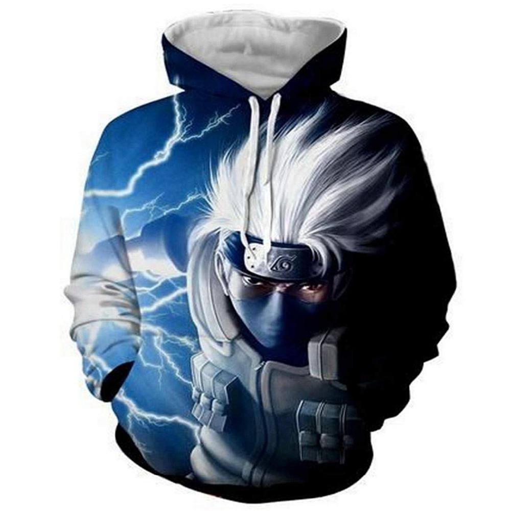 Новые 2019 Толстовка с капюшоном Женщины / Мужчины 3D Printed Аниме Casual Мужчины Толстовки Смешные Какаши Hoodie Streetwear Пуловеры Tops