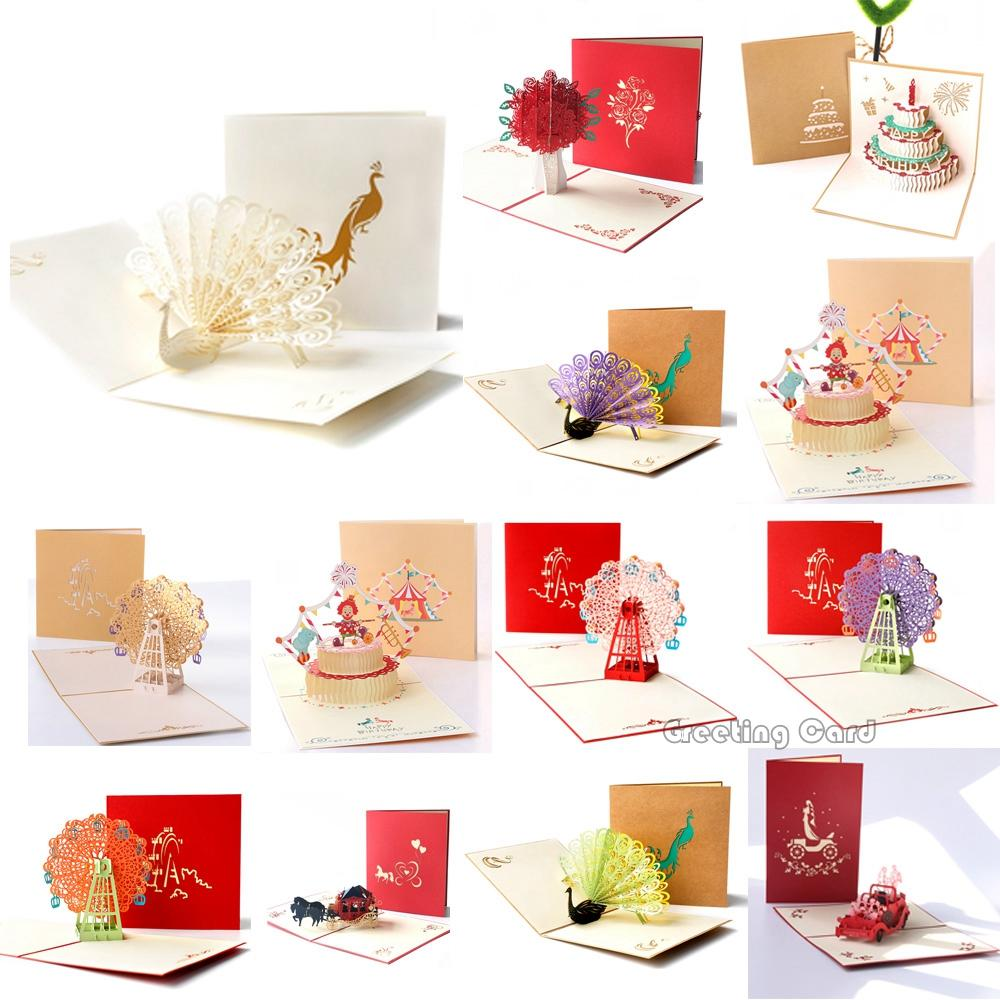 Assorted 3D Pop Up Greeting Cards for Christmas Birthday Valentines Gift
