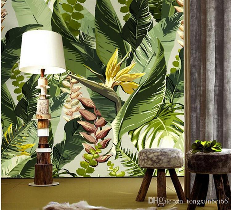 바나나 잎 벽지 사진 벽 벽 골목 거실 꽃 소파 배경 벽 장식 대형 벽화
