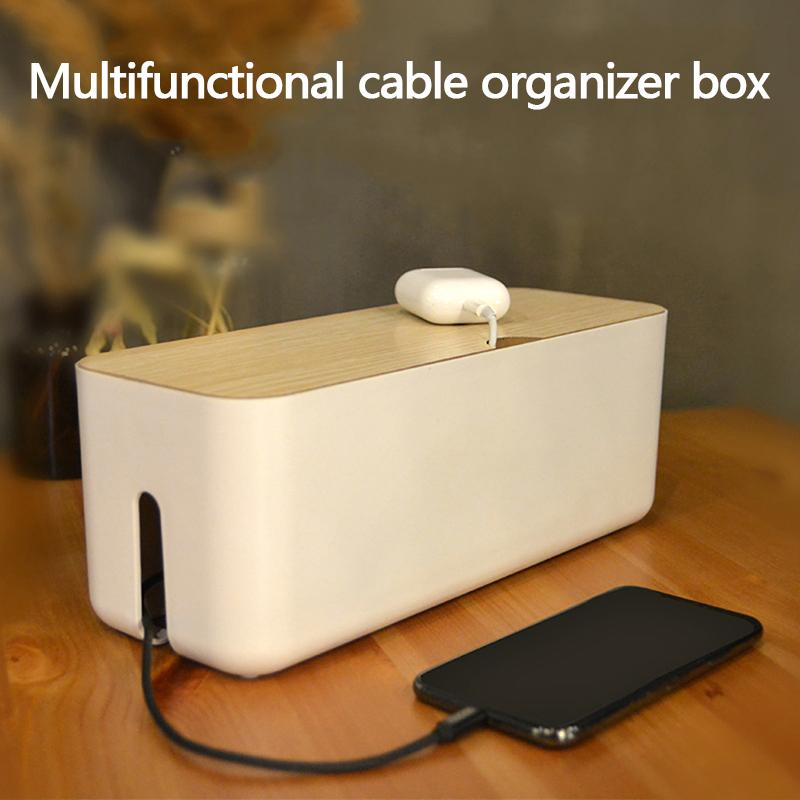 Storage Boxes & Bins Cable Storage Box Power Strip Wire Case Anti Dust Charger Socket Cable Winder Wire Cord Management Desktop Organizer