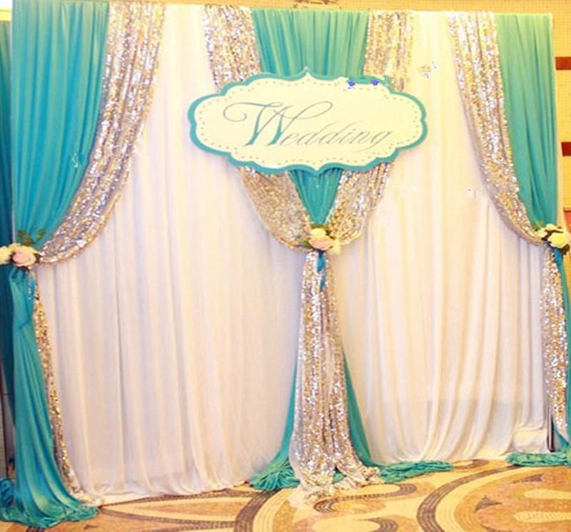 3MX6M الترتر حافة الزفاف خلفية ستارة بيضاء مع سوجس برفومنس الدعائم جدار decoratons عيد ميلاد الحزب