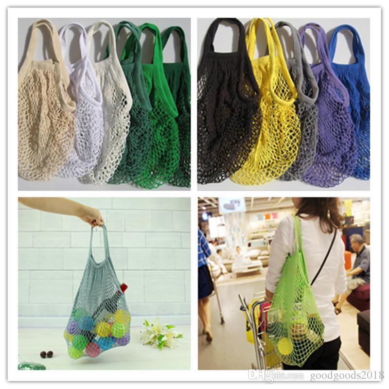 Fashion String Shopping Fruit Vegetables Grocery Bag Shopper Tote Mesh Net Woven Cotton Shoulder Bag Hand Totes Home Storage Bag ST245