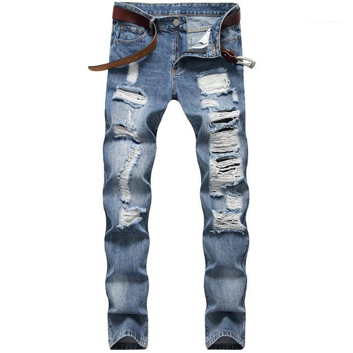 Pantaloni casual Slim MensTrousers Light Blue loose fit jeans del cotone per i maschi uomini diritti dei jeans del foro