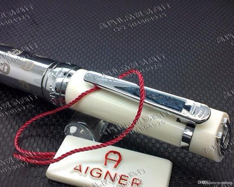 Spedizione gratuita ! ! Aigner penna a sfera penna Oblique Testa Serie resina e metallo di colore blu d'oro / argento clip