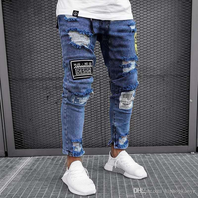 Erkek Yeni Jeans Pantolon Katı Renk Moda Stil Homme Giyim Açık Mavi Casual Giyim Hole