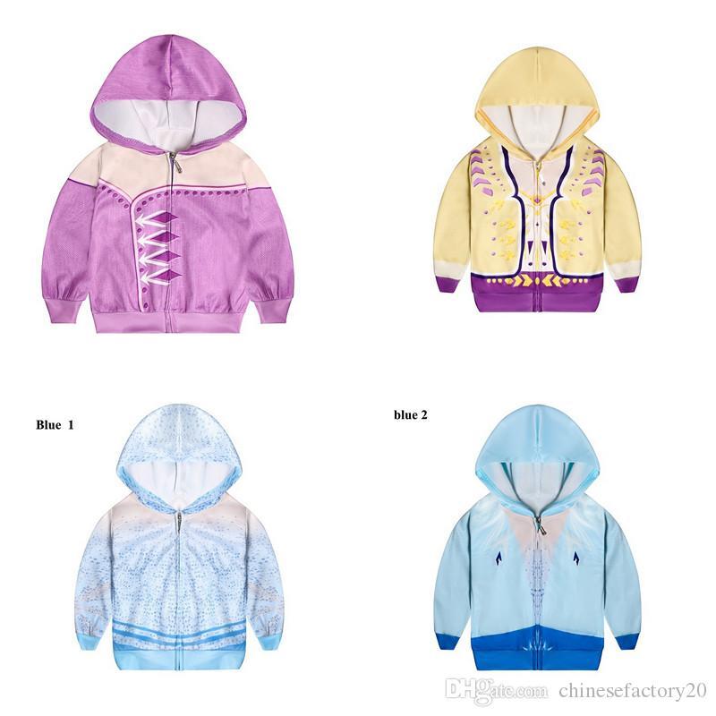 Snow Queen II Costume Costume Kid à capuche Cosplay Outwear pour enfants Zipper à glissière Hoodies Manteaux Garçons et filles Vêtements