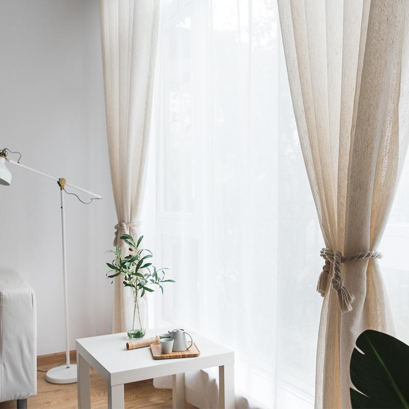 Modern Tulle Curtains Faux Cotton Linen Curtains for Kitchen European Pure Color Living Room