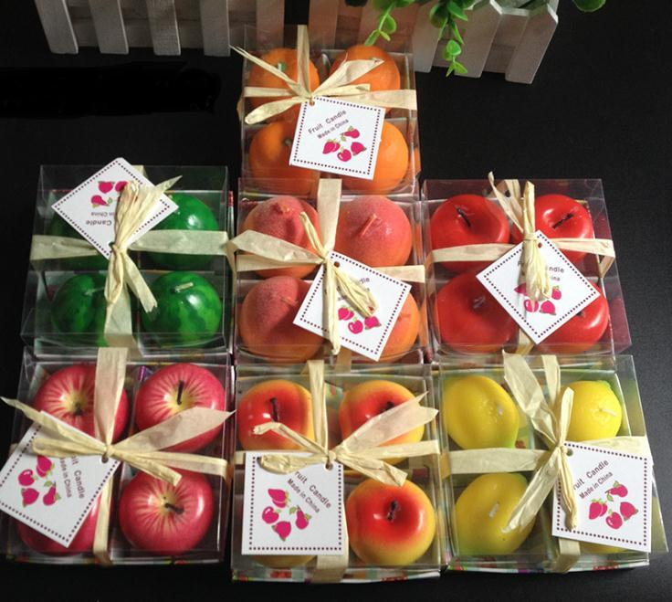 محاكاة الشموع الفاكهة التفاح على شكل شمعة مهرجان جو رومانسي الديكور شمعة الأزياء حزب بوجي 4 قطعة / المجموعة