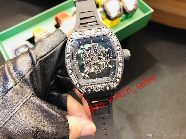 5 Стили Роскошные Мужские Часы Bubba Watson RM055 Фабрика Бриллиант Безель Углеродные Волоконные Освещенные Освещенные Турбийон Мечнические Автоматические Часы
