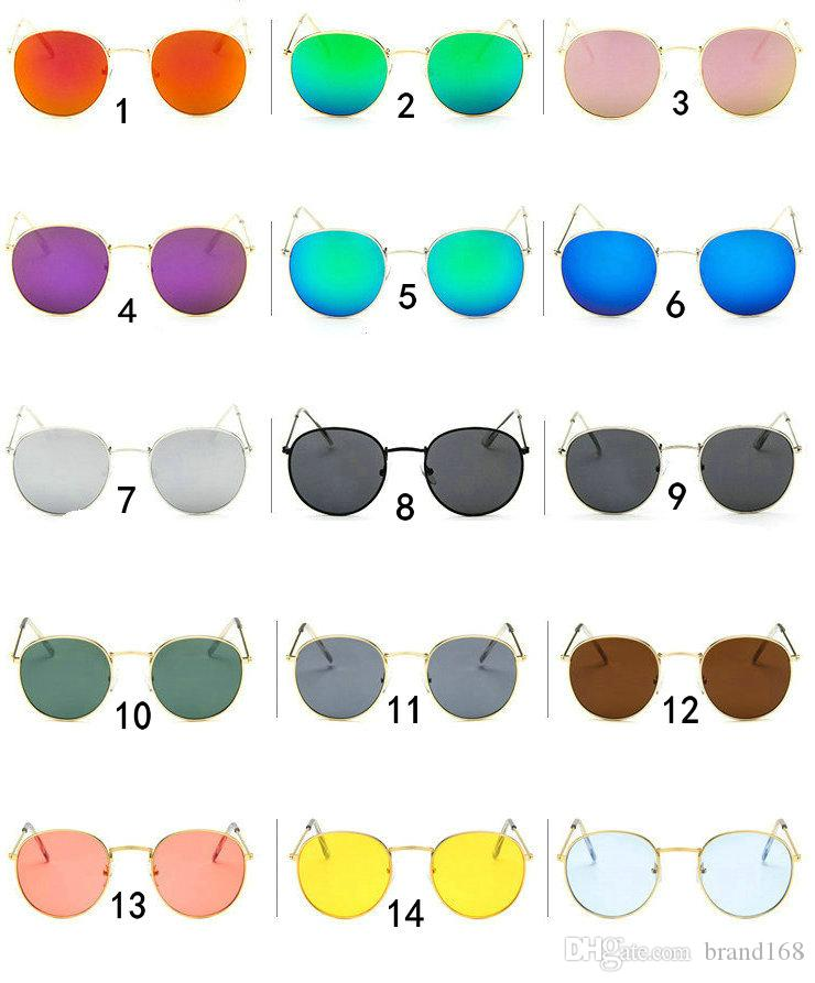 (ÇİNDE YAPILDI) Sıcak Satış 15 Renkler Yeni Klasik metal Yuvarlak güneş gözlüğü unisex spor güneş gözlüğü Açık bisiklet güneş gözlükleri.