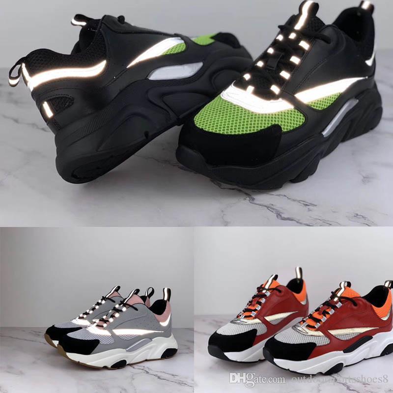 Sapatos de beisebol dos homens técnica de malha de bezerro marca designer de tênis 2019 novo de moda de luxo B22 Cores Misturadas Sapatos Casuais Reflexivo Tamanho 35-46