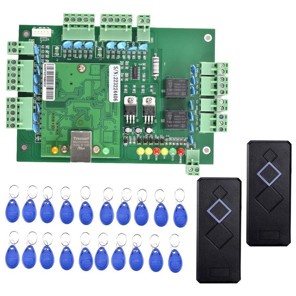 Système de porte Porte de contrôle d'accès Kit avec 2 lecteurs de cartes 20-Keyfobs noir
