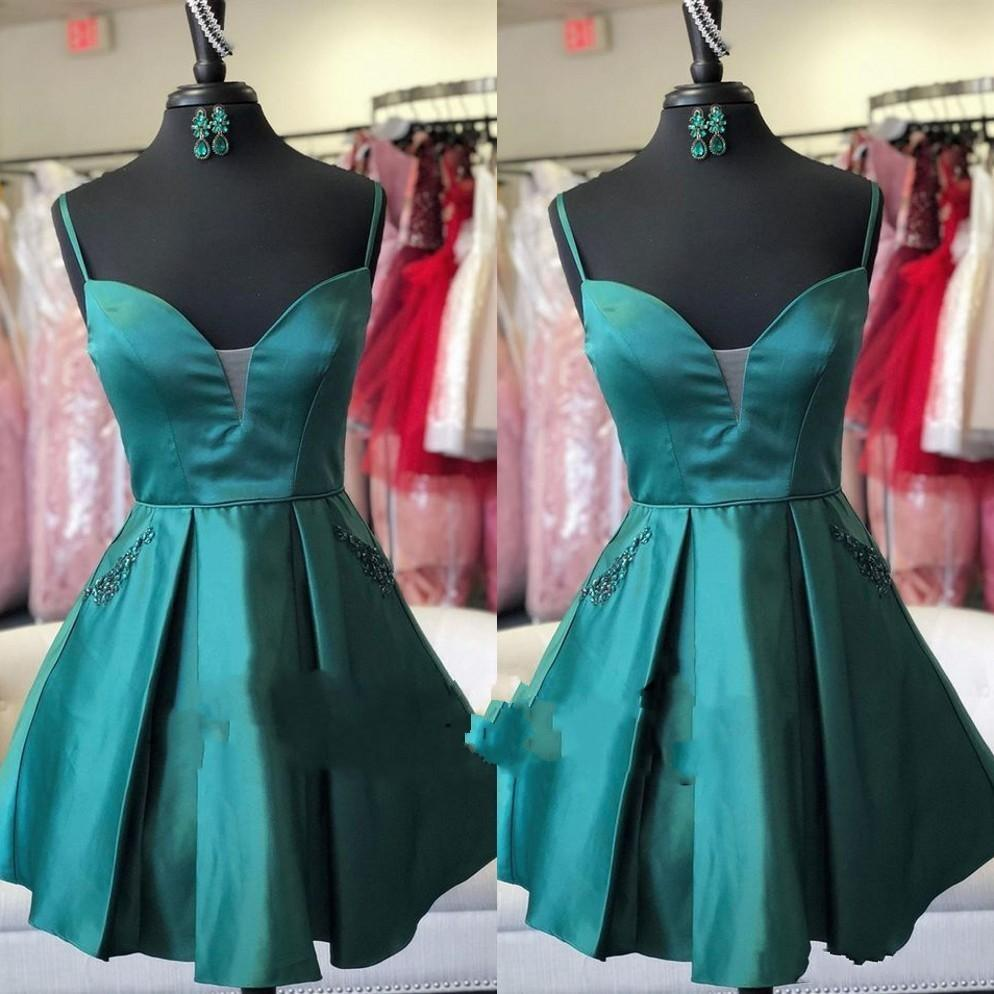Teal Short Homecoming Dresses Spaghetti Straps Pleats Above Knee Length Mini Prom Cocktail Party Dresses Beads Graduation Gown Formal Dress
