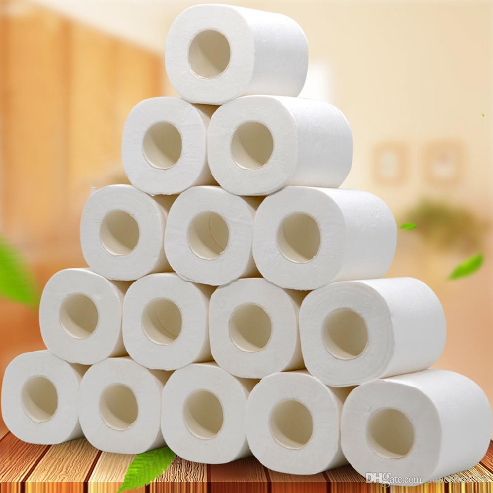 En stock 10 rouleaux / pack 4 couches toilettes rouleau de papier de pâte de bois primaire papier hygiénique papier toilette bain rouleau de papier Non Fluorescen
