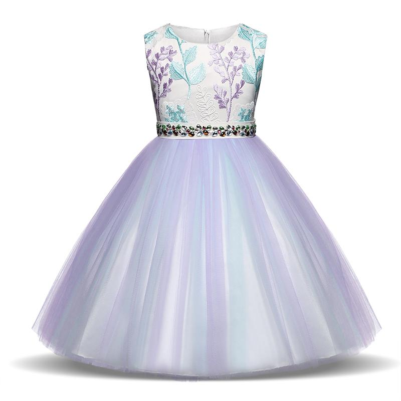 Applique Girl Dresses 2018 Summer Elegant Dress For Kids Party Birthday Prom Gowns Girl Wedding Frocks Infantil Vestidos 3 5 8t Y19061501