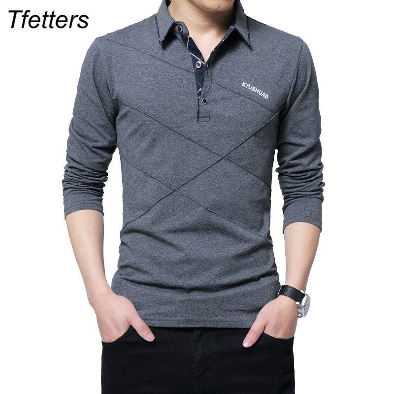 TFETTERS Marka Tişörtlü Erkekler Uzun Tişört Turn-down Stripe Designer tişört Slim Fit Gevşek Casual Pamuk Tişörtlü Erkek Artı boyutu Y200104