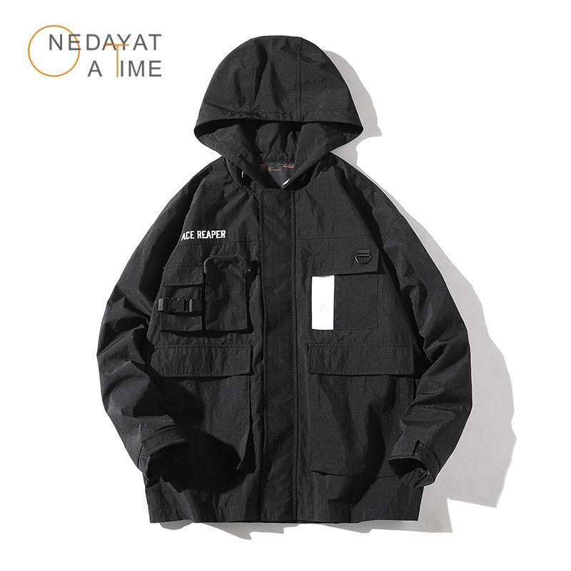 남자 재킷 도시 힙합 망 후드 후드 윈드 브레이커 자켓 가을 2021 캐주얼 빈티지 컬러 블록 느슨한 트랙 까마귀 코트 스트리트웨어