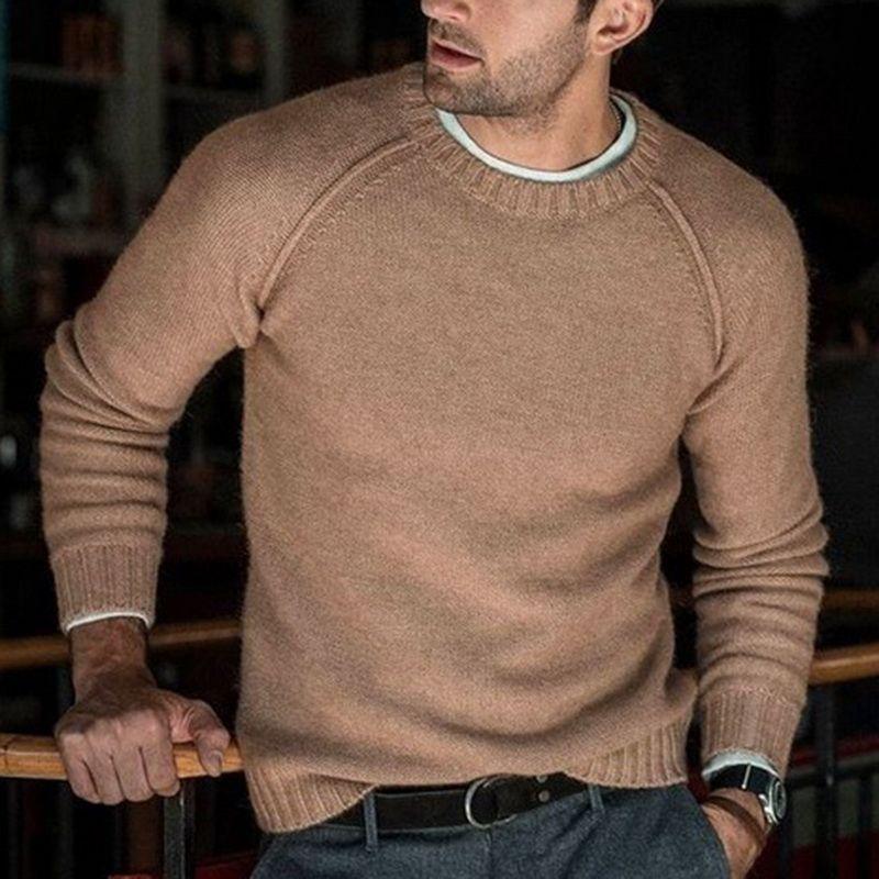 Adisputent Men Jerseys de punto Warm O Neck Pull Knitwear Otoño Invierno Ropa Casual Tricot Jumper Pullovers Sweater Homme