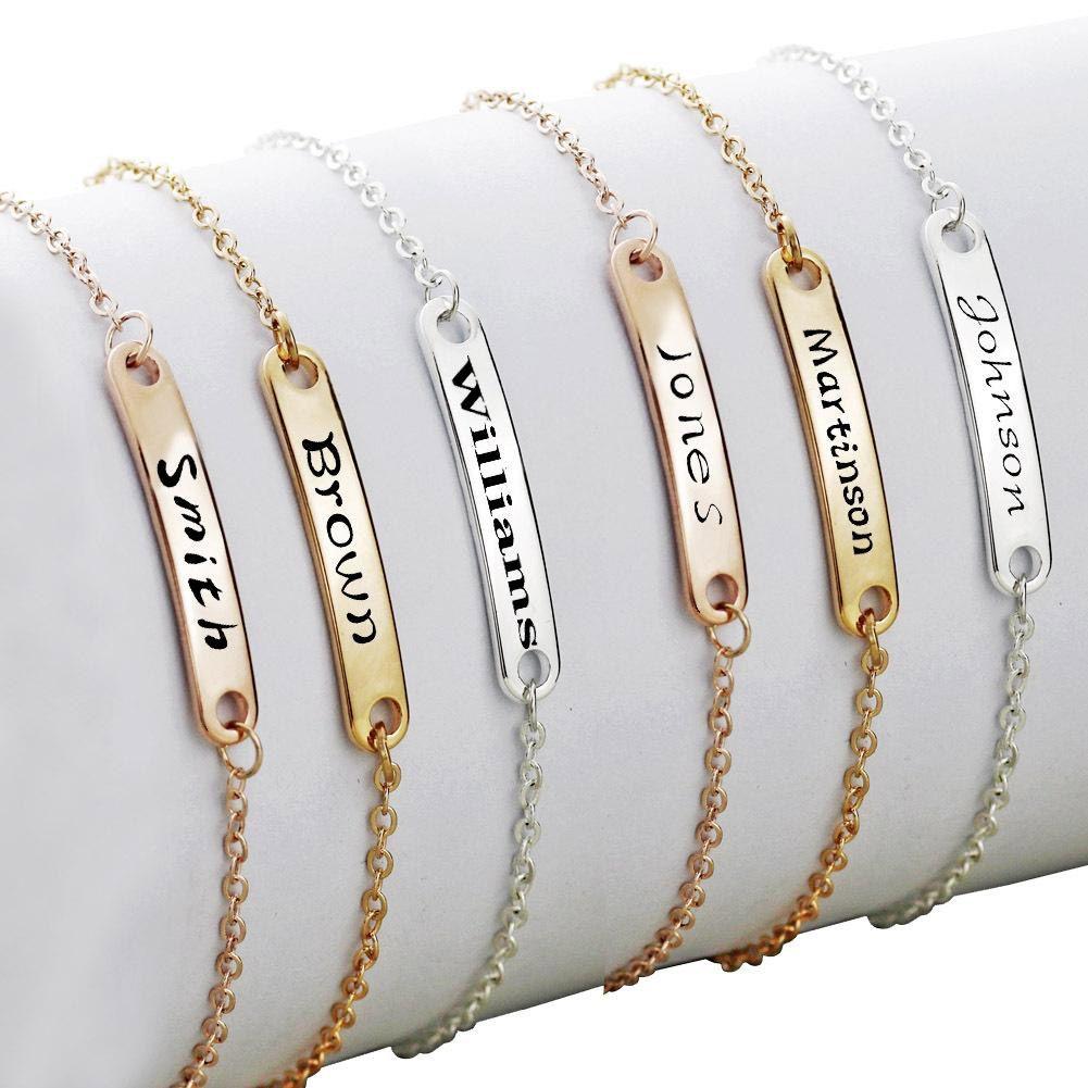 Pulseira em aço inoxidável moda ouro pode conhecida feita sob encomenda ID inicial Braceletes em branco Bar Bracelet para as Mulheres Personalize Jóias melhores presentes