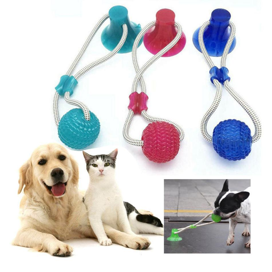 Multifunction Pet Molar Bite Toy Rubber Dog Chew Ball Cleaning Teeth Safe Elasticity Soft Dental Care Suction Cup LJJA3375-11