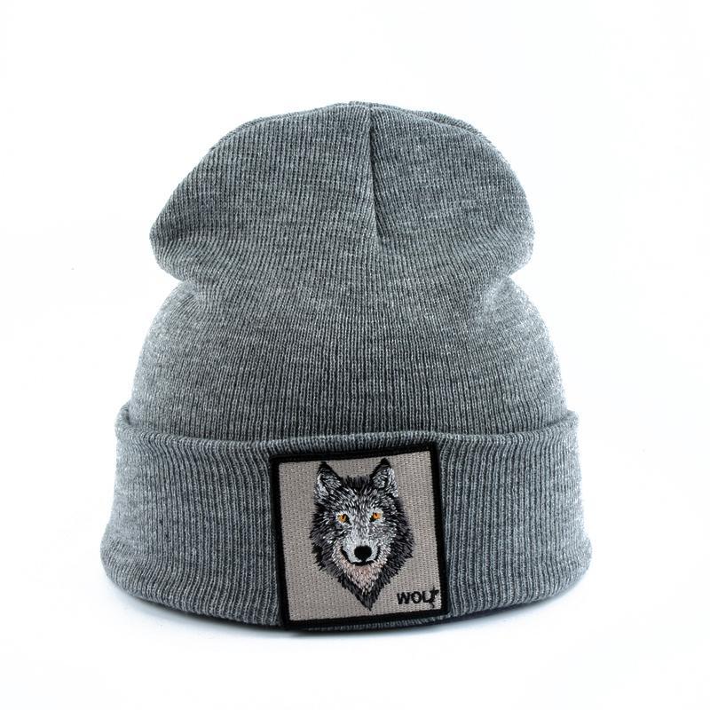 Оптовые 2019 Новая мода Мужская шапочка животных Волк Вышивка Зимние шапки Вязаные шапочки для мужчин Streetwear Хип-хоп Skullies Bonnet T200116