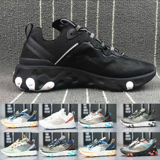 UNCOVER x nächsten Element 87 55 Reagieren Laufschuhe für Männer Frauen Leichte Knochen triple schwarz weiß royal Solar-rot Trainer Sportturnschuh cbk