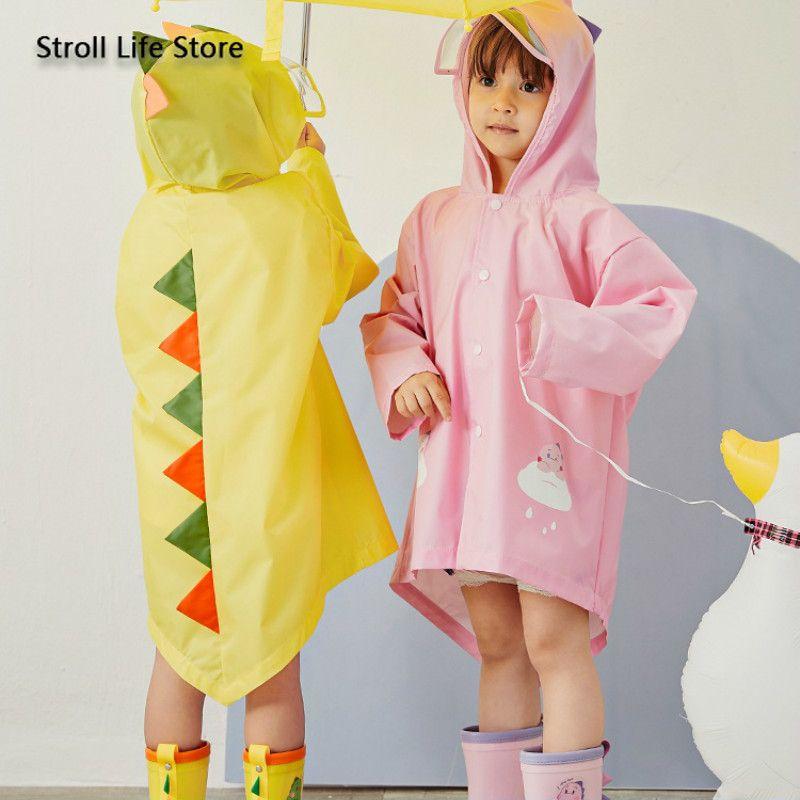 Yellow Girls Raincoat Kids Dinosaur Waterproof Pink Children Rain Coat Rain Poncho Partner Windbreaker Impermeable Gift Ideas