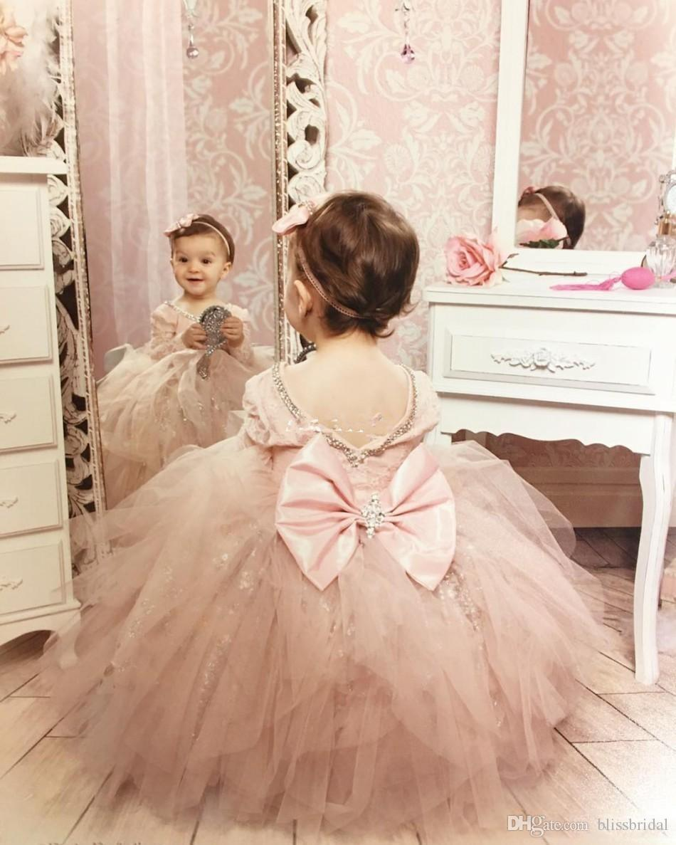 Lovely Blush Pink Long Sleeve Flower Girl Dresses for Wedding Sparkly Sequin Crystals Ruffles Tulle Bow 2019 Custom Made Girls Pageant Dress