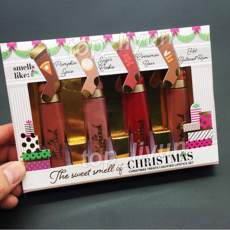 크리스마스 액상 립스틱 세트 녹은 매트 립글로스의 달콤한 냄새 4 색 메이크업 아름다움 크리스마스 립스틱 선물 무료 DHL