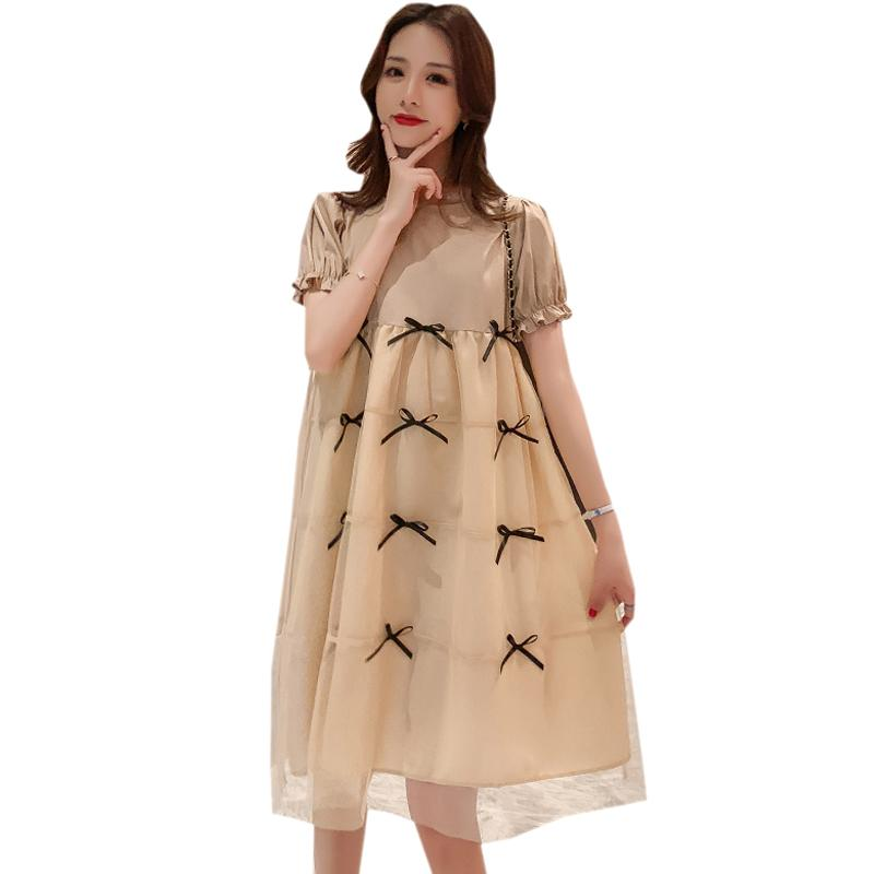 2021 Summer Pregnancy Clothes Korean Cute Fashion Dresses For Pregnant Women Plus Size Loose Bowknot Mesh Patchwork Dress Maternity From Callshe 25 58 Dhgate Com
