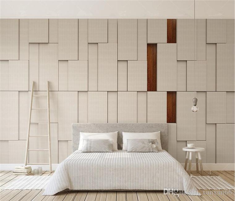 Personalizzato carta da parati 3D carte da parati beige del grano splicing panno legno massello modello vivente parati sala TV parete di fondo