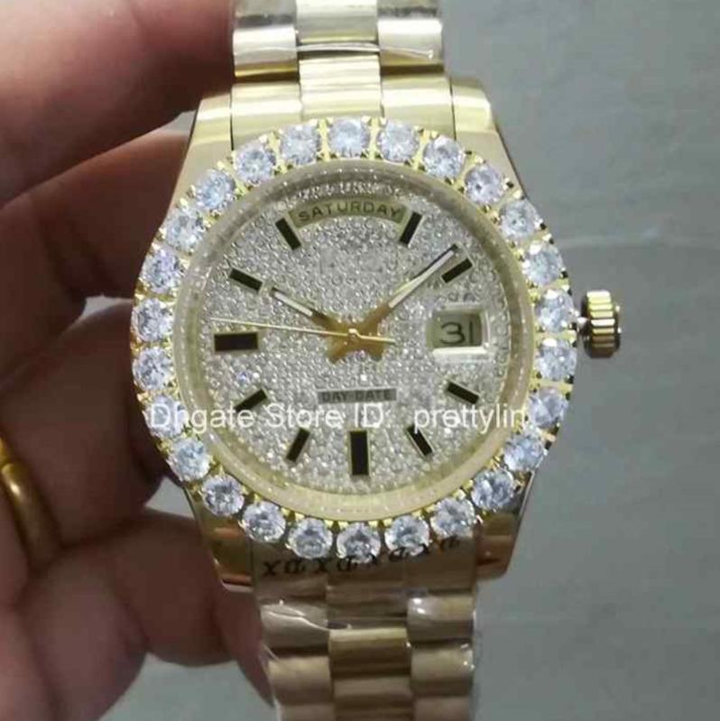Heißer verkauf mode luxus herrenuhren handgelenk automatische diamant lünette herrenuhr vereist uhr designer uhren