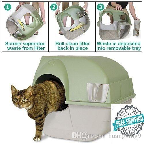 발 자동 청소 고양이 쓰레기 상자 일정한 목록 키티 백랍 국자 자동