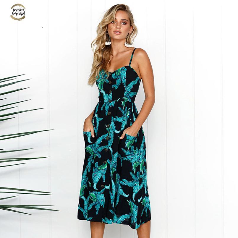 ropa de diseñador del verano del vestido de las mujeres Vestido de tirantes de la vendimia de Bohemia del V-cuello de la túnica de la playa vestido señoras del partido Eveing raya atractiva del vestido de Vestidos