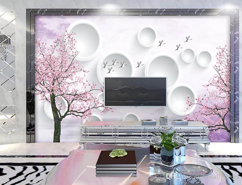 Fondo de pantalla 3D personalizado grande de la foto Hermosa flor de cerezo 3D televisión de fondo Antecedentes sala de fondo de pantalla mural de estar Decoración del dormitorio