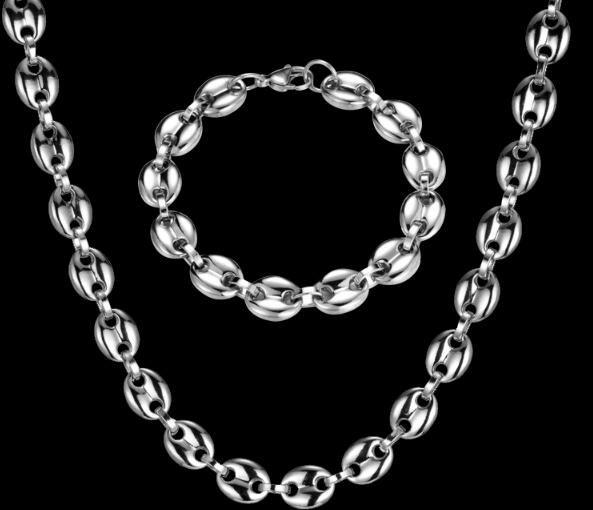 Énorme 11mm de large 60cm + 22cm Heavy Heavy Steel Inox Scolaire Cafe Cafe Cafets Link Collier Chaîne + Bracelet Ensemble de bijoux