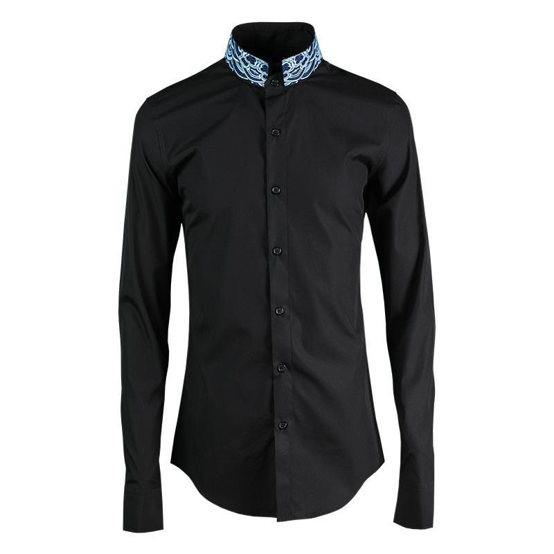 Standplatz-Kragen-Mann-Hemd Mode-Hals-Precision gestickte Mens Dress Shirt Hight Qualität beiläufige Mens-Hemden nehmen passende 4XL