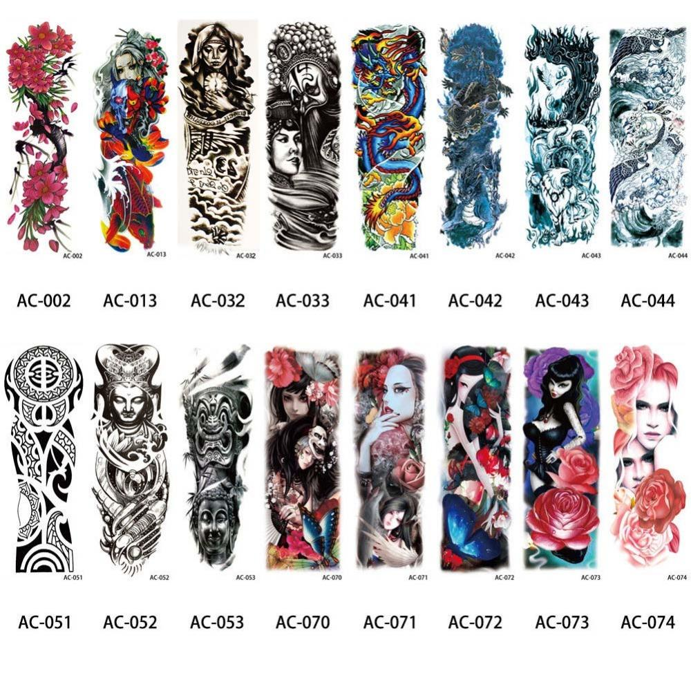 Tattoo & Body Art Temporary 16 Designs Full Arm Temporary Tattoo Sleeve Waterproof Tattoos For Cool Men Women Tattoos Stickers On