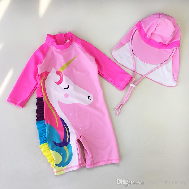 2019 أطفال ملابس الكرتون يونيكورن تسبح الدعاوى للفتيات طويلة الأكمام واقية من قطعة واحدة الاستحمام مع قبعات الأطفال المايوه الملابس