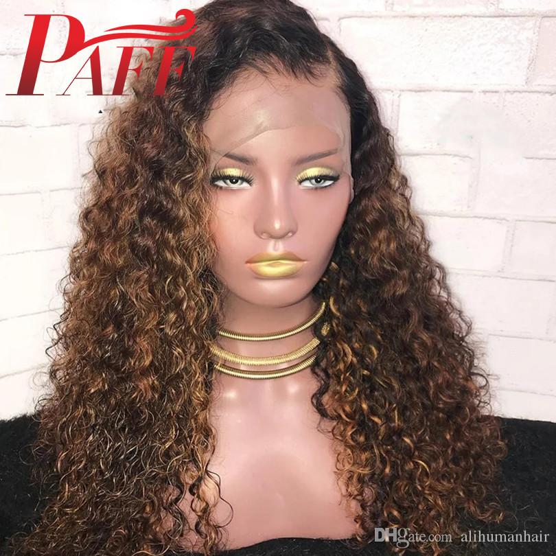 parrucca anteriore pizzo 13x6 PAFF Evidenziare Ombre Biondi capelli umani parrucche Pre pizzico parrucca di Remy dei capelli con i capelli del bambino