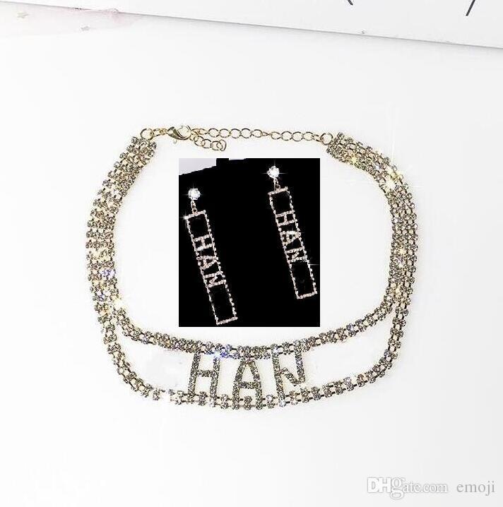 Designer de strass completo letra borla brincos colar conjuntos de jóias para as mulheres brinco 925 agulha de prata jóias presentes