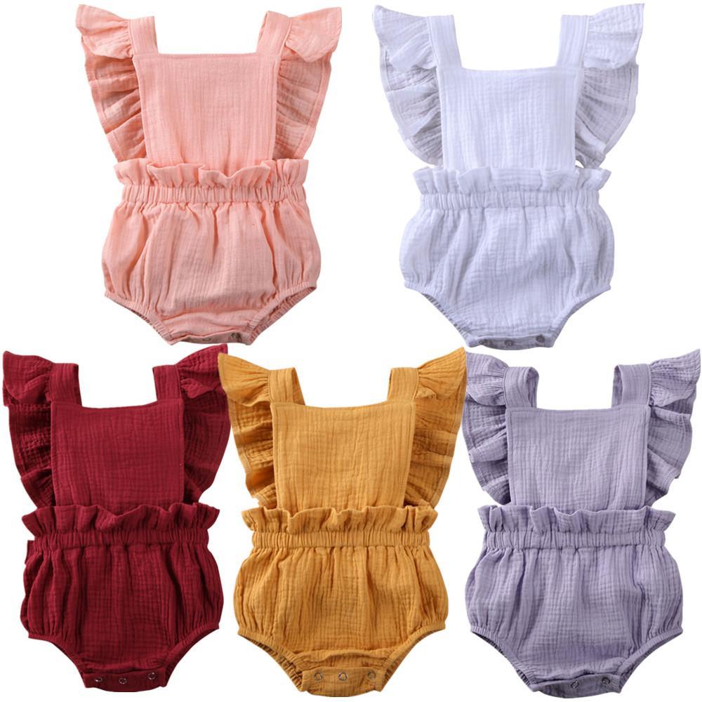 Bowknot de las colmenas de los 0-24M de los bebés recién nacidos Body de encaje de manga corta sólido mono trajes de verano de la ropa