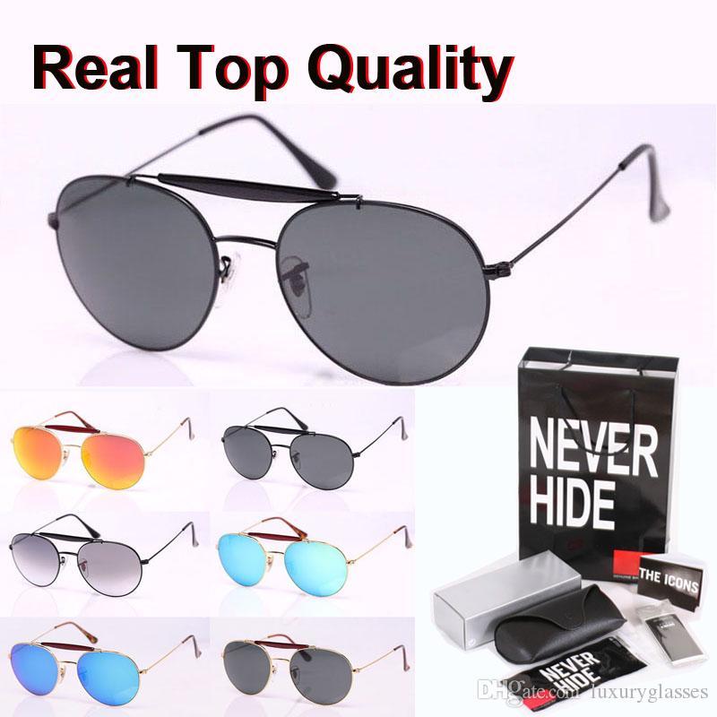 Nueva llegada gafas de sol para las mujeres de los hombres de doble puente de metal UV400 marco del espejo lente de cristal con la caja original, paquetes, accesorios, todo!