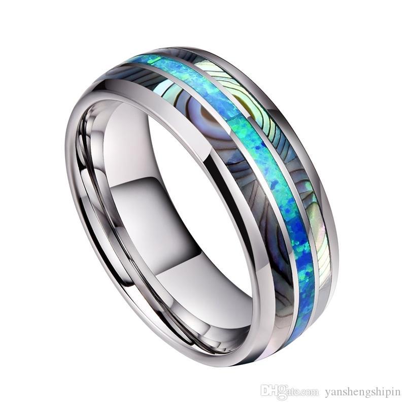 8 MM Geniş Kakma Kabukları Mavi Opal Tungsten Çelik Yüzük Asla Fade Nişan Band Yüzük erkek Takı Boyutu 6-13