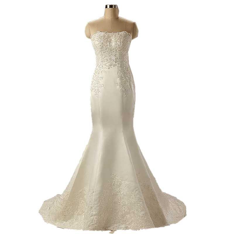 Simples sem alças de cetim marfim vestidos de casamento barato Lace apliques de pérolas Beading sereia casamento vestidos de vestes de Mariee Vestidos de noiva