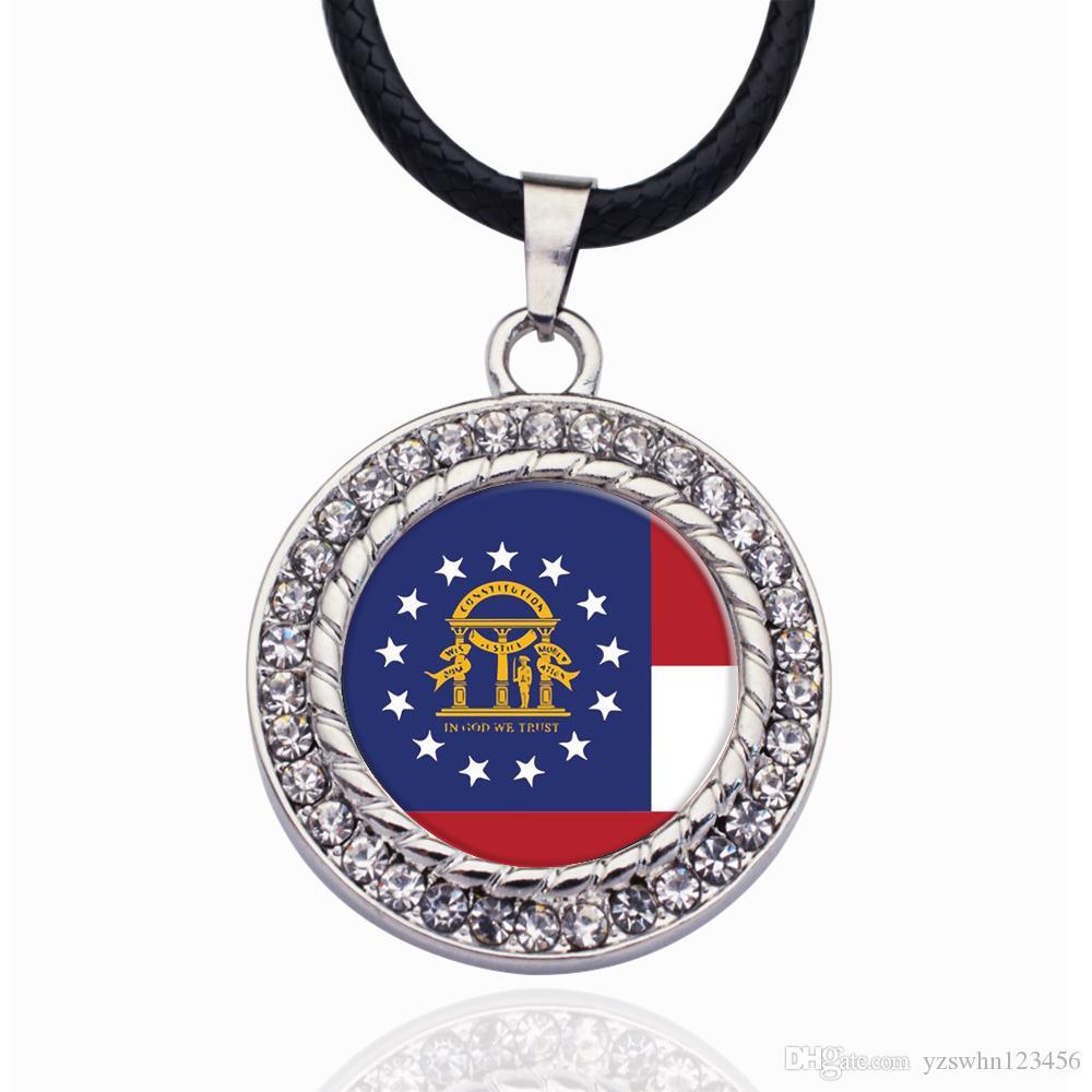 Bandera de Georgia Círculo Encanto Collar Estrellas Bola Colgante de Cristal Collares Collar de cadena Para unisex