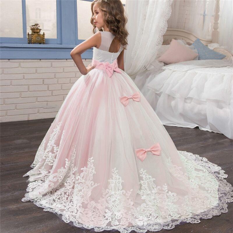 Compre Vestidos De Niña De Flores De Princesa Rosa Vintage Con Encaje Dorado Apliques De Bodas Tutu Vestidos De Cumpleaños Para Niños 77 A 5927 Del