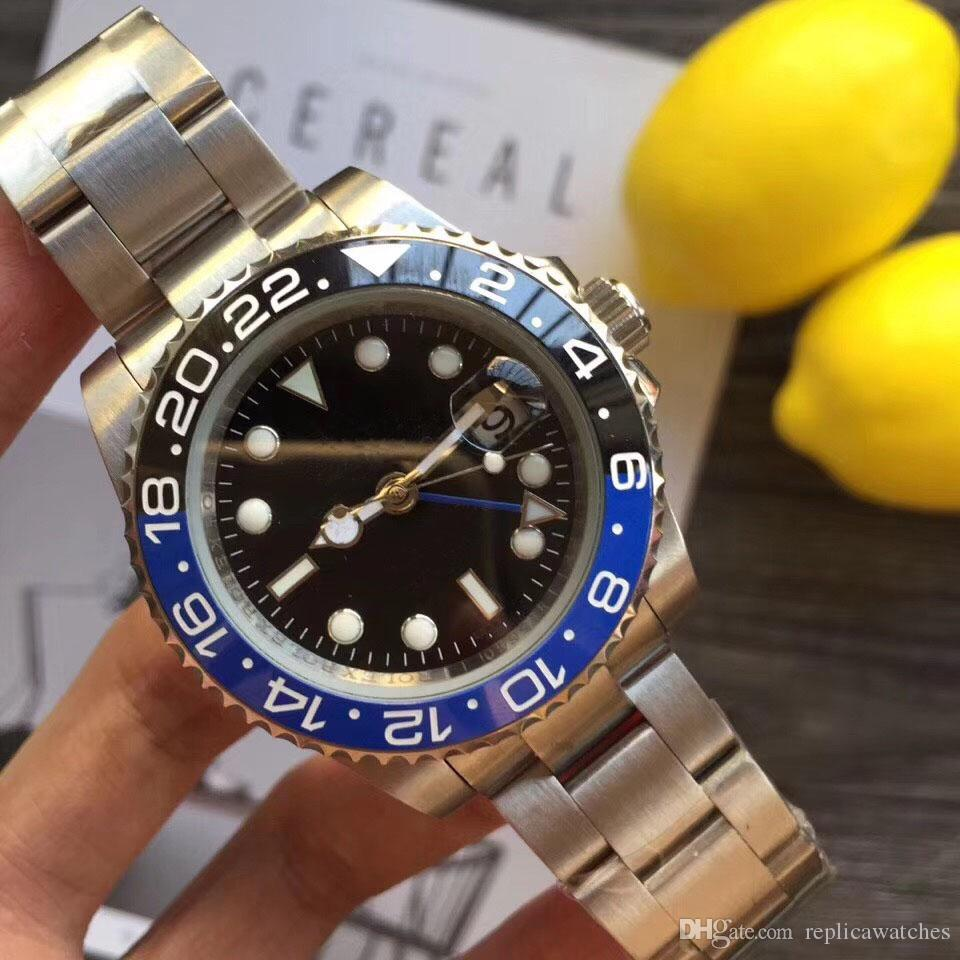 126710 Seramik Bezel Lüks Erkek Kendinden sarma El saatler için Man Marka Mekanik Saatler Çelik Otomatik Hareket Moda İzle Saatler