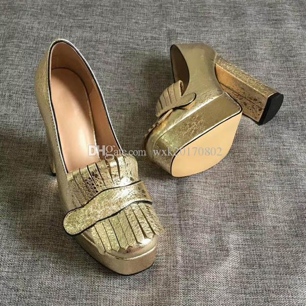 2019 Frühlings-Sommer-Herbst-neue Art und Weise Kleid-Schuh-echtes Leder-Absatz Einzelne Schuhe Größe; 35-41
