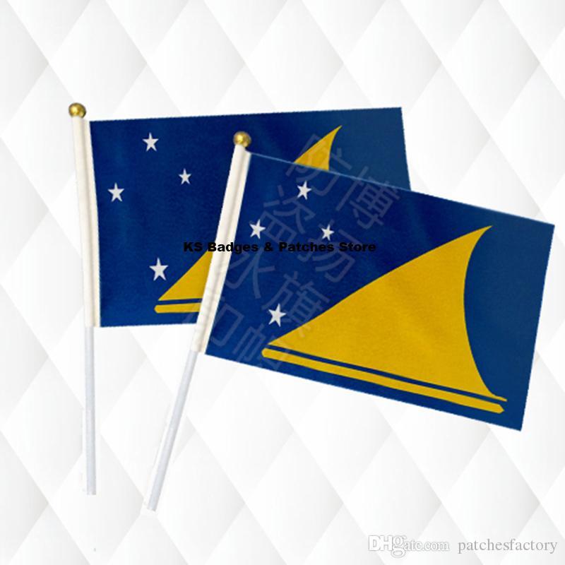 Tokelau Hand Stick Tuch Fahnen Sicherheit Ball Top Hand Nationalflaggen 14 * 21 CM 10 stücke viel